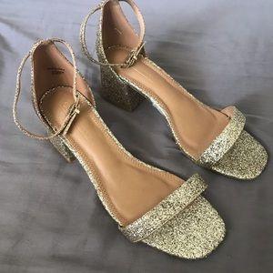 Gold glitter heeled sandal